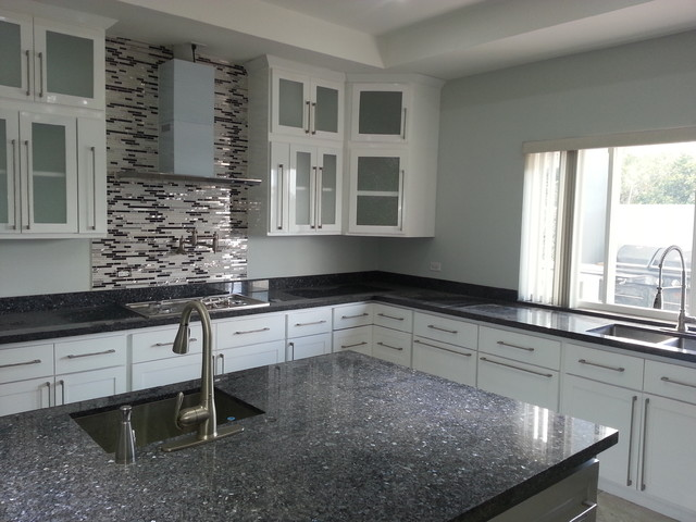 White Harmony Kitchen with Blue Pearl Granite Top ...