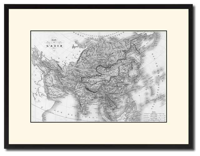 Asia Vintage Map Print On Canvas With Black Custom Frame, 16\