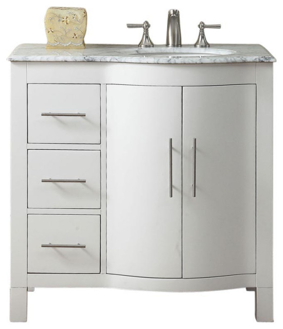 36 Inch White Bathroom Vanity With Choice Of Offset Sink Transitional Bathroom Vanities And Sink Consoles By Unique Online Furniture Houzz