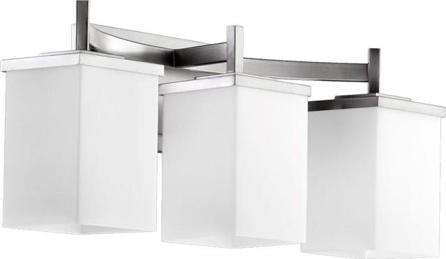 Satin Nickel Ceiling Lights Bathroom Vanity Chandelier: Three Light Satin Nickel Satin Opal Glass Vanity