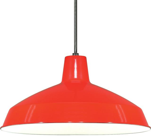 "1 Light 16"" Pendant Warehouse Shade, Red"