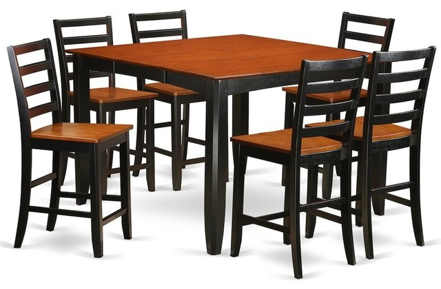 7 Piece Pub Table Set Square Counter Height Table And 6 Dining