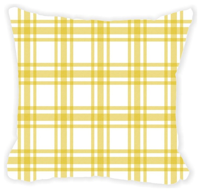 Yellow And White Plaid Microfiber Throw Pillow Contemporary Decorative Pillows By Value Gifts