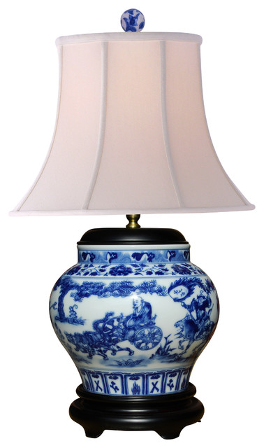 Blue and White  Canton Wine Jar  Lamp