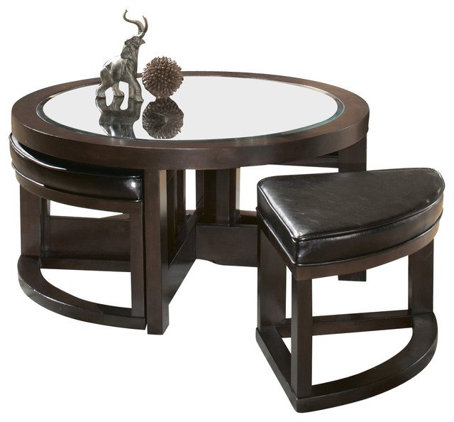Homelegance Brussel Round Cocktail Table With 4 Ottomans