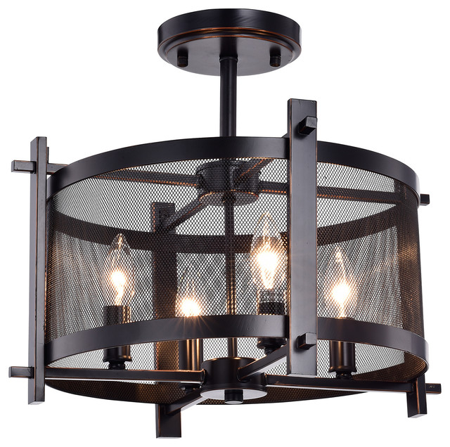 Aludra 4 Light Metal Chandelier With Mesh Shade