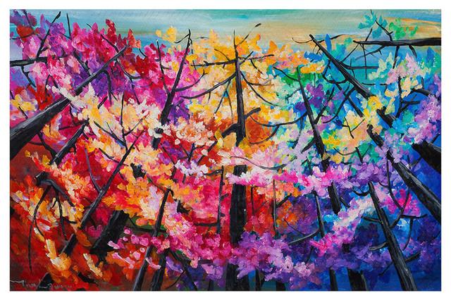 Treetop Colorful 2 Area Rug, 37x22.5.