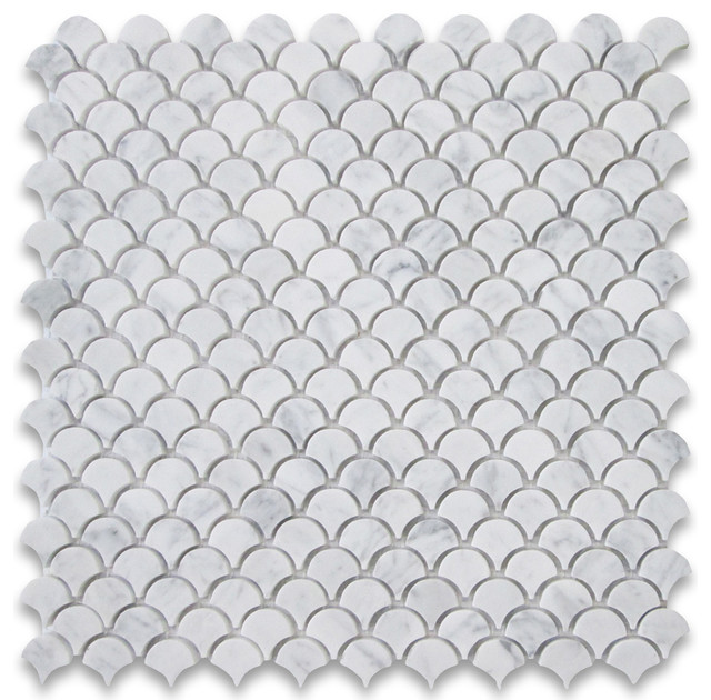 12 Quot X12 Quot Carrara White Mini Fish Scale Fan Shaped Mosaic