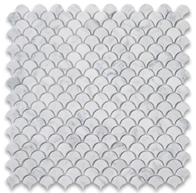 12 X12 Carrara White Mini Fish Scale Fan Shaped Mosaic Tile Honed Traditional