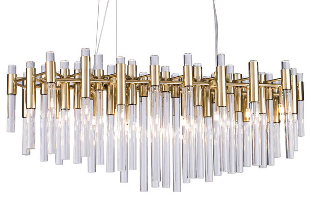 Gold Metal Frame, Clear Glass Rod Chandelier by Design Living