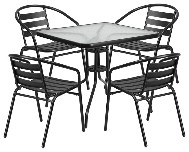"31.5"" Square Glass Metal Table With 4 Metal Aluminum Slat Stack Chairs."