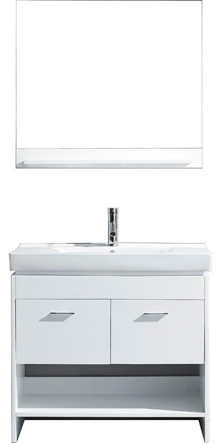 Edinburgh Vanity, White With Polished Chrome Faucet And Mirror, 36.