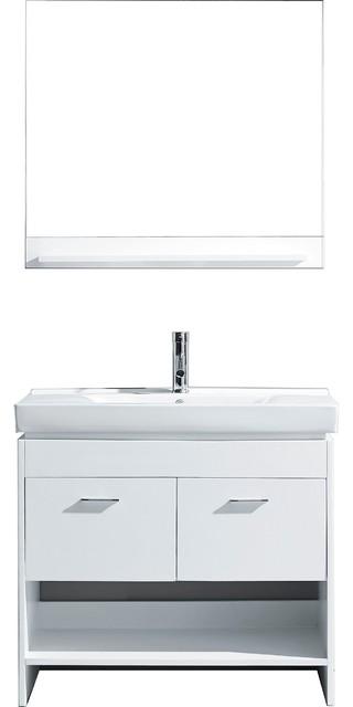"Gloria 36"" Vanity, White, Brushed Nickel, Mirror"