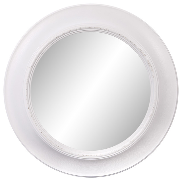 """24"""" Rustic Round Mirror In Distressed White."""