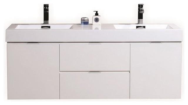 "Bliss 60"" Double Sink High Gloss White Wall Mount Modern Bathroom Vanity"