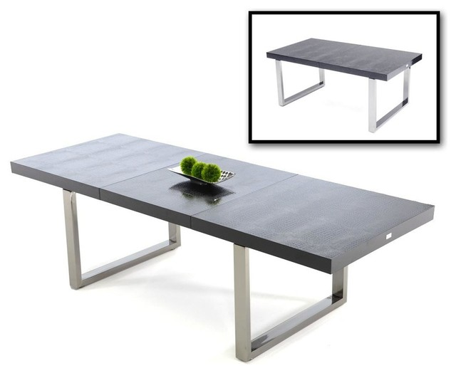 203 & Skyline Black Crocodile Textured Lacquer Extendable Dining Table
