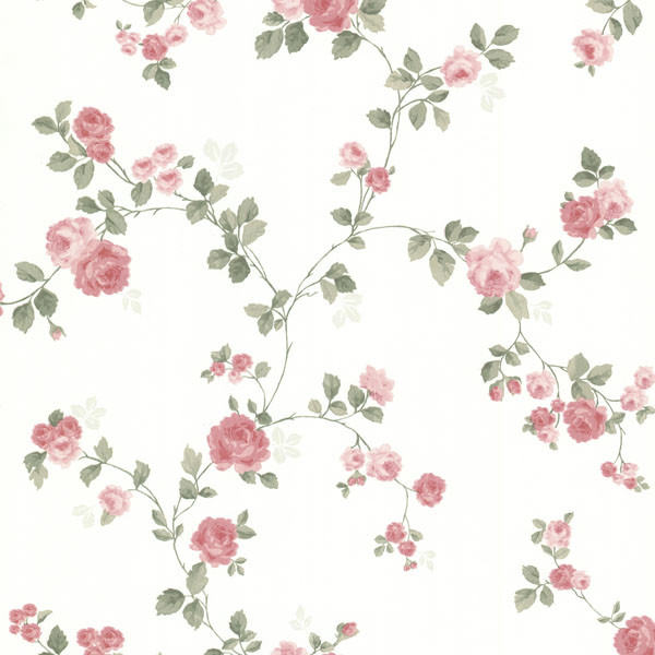 Cornelia Pink Rose Trail Wallpaper Traditional