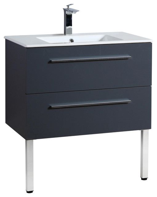 Kiss Bathroom Vanity Unit With Drawers and Ceramic Sink, Grey, 80 cm