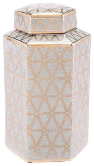 Link Covered Jar, Medium, Gold and Blue