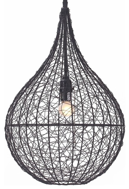 Hanging Metal Mesh Pendant Light, Hanging Cage Fixture, Black Color.