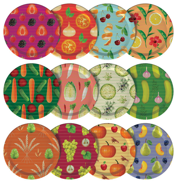 Home Canning Mason Jar Lids With Food Designs, Set Of 12.