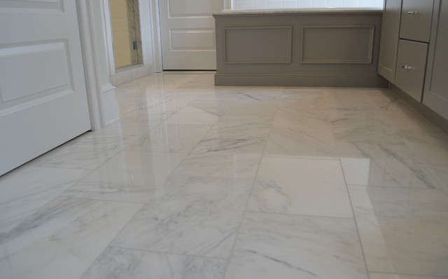 White Carrara Marble Floor Transitional Wall And Floor
