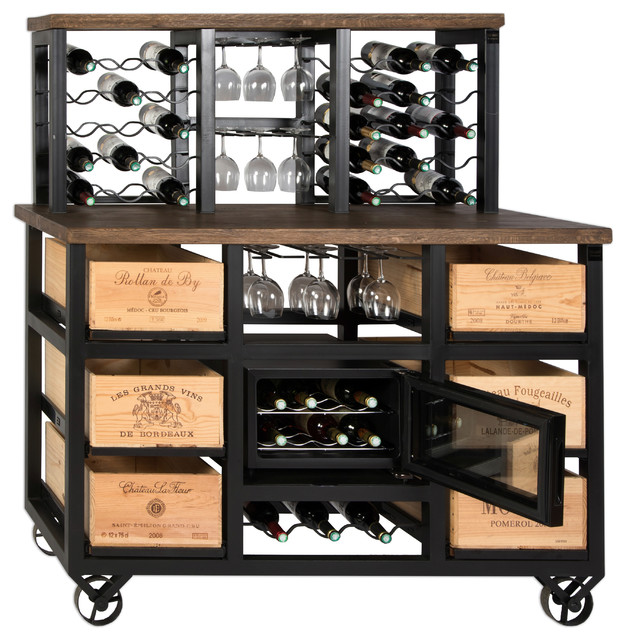 6-Drawer Solid Reclaimed Oak Wine Cooler With Wheels and 30-Bottle ...