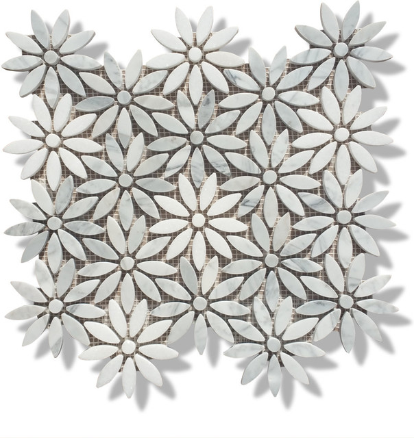 12 X12 Carrara And Thos White Marble Flower Polished Mosaic Tiles