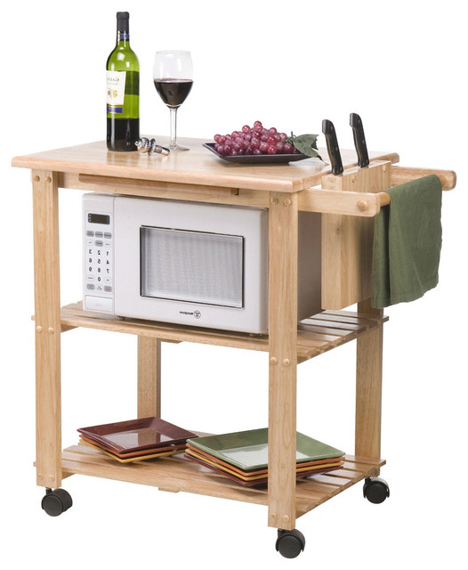 Solid Wood Kitchen Utility Microwave Cart With Pull Out Cutting Board  Transitional Kitchen