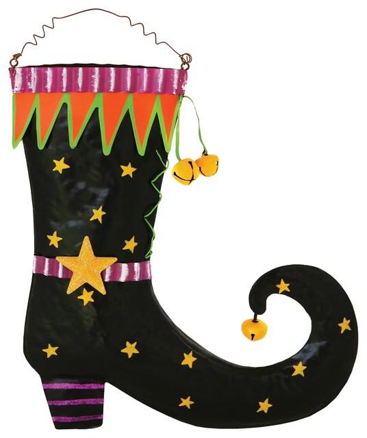 "Halloween Witch Boot 10"" Tin Wall Door Hanging Sign Plaque."