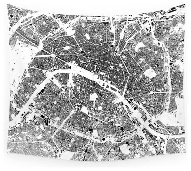 "Society6 Paris Map Schwarzplan Only Buildings Wall Tapestry, Medium, 68""x80"""