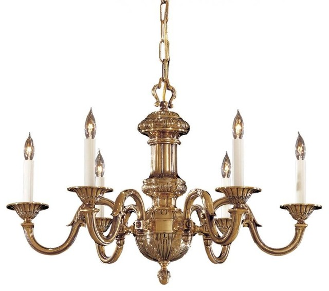 Minka 6 light chandelier in traditional style with classic brass finish traditional - Popular chandelier styles ...
