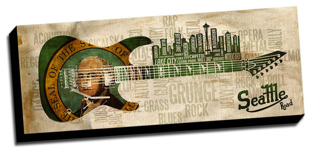 "Seattle Wall Art 14""x36"" music road, seattle, panoramic canvas wall art"