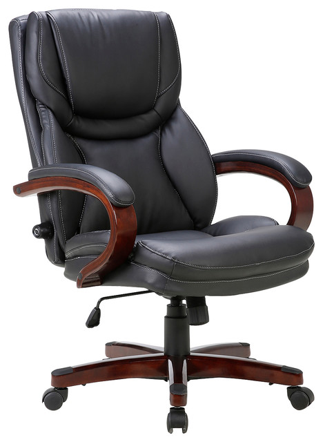executive office chair adjustable lumbar support swivel wood armrest transitional office. Black Bedroom Furniture Sets. Home Design Ideas