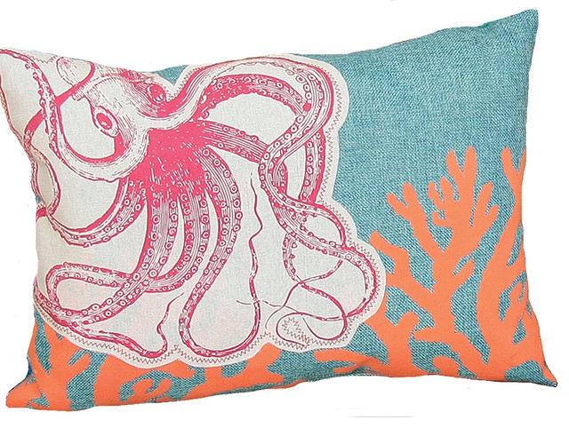 Applique Octopus With Print Coral Coastal Decorative Pillow With Poly, 13&x27;&x27;x18&x27;&x27;.