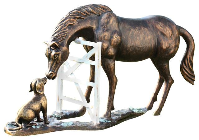 Barnyard Pals Garden Sculpture, Dog And Horse