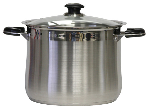 16qt Stainless Steel Stockpot With Glass Lid.