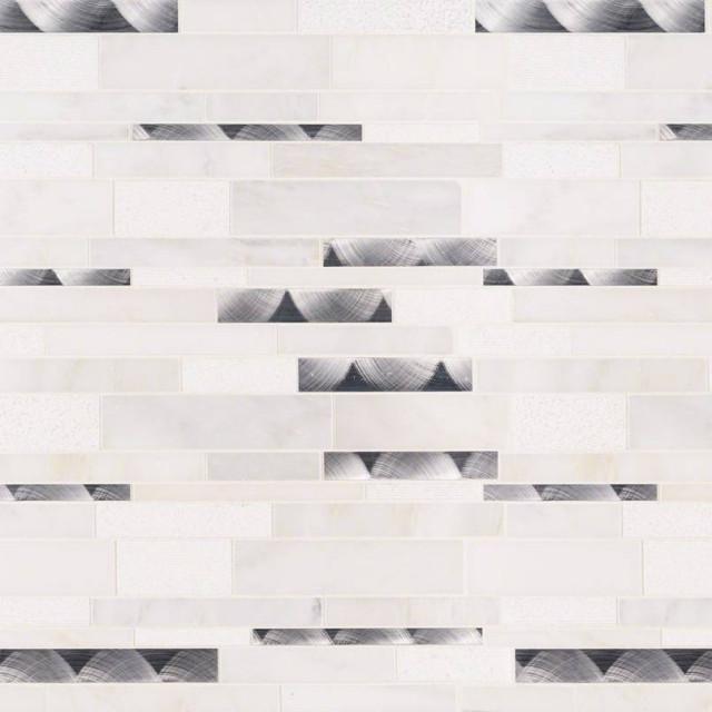 Moderno Blanco Interlocking 8Mm, Misc, Mosaic,