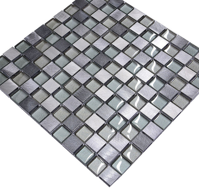 Gray Blue Metal Glass Modern Kitchen Backsplash Tile Modern