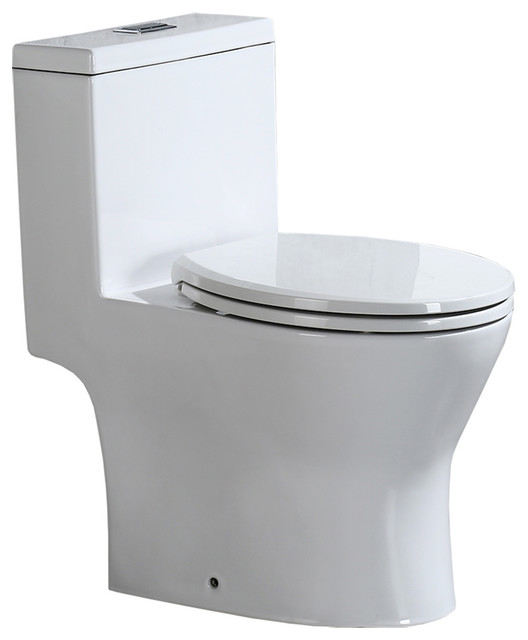 Woodbridge Short Compact One Piece Toilet With Soft Closing Seat. -1