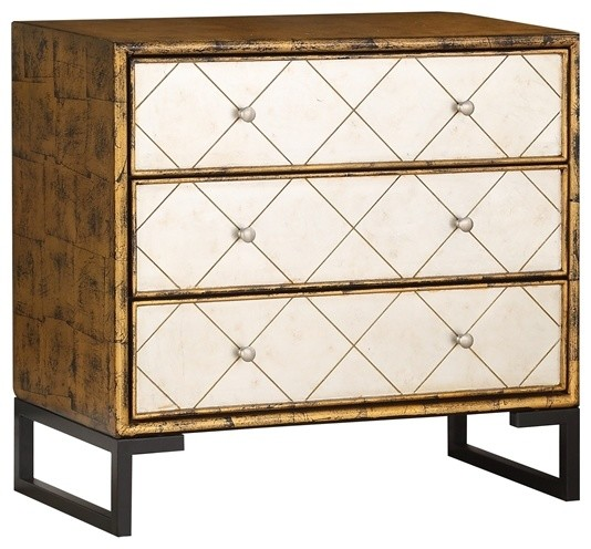 3-Drawer Chest With Power, Azen Antique Gold And Silver.