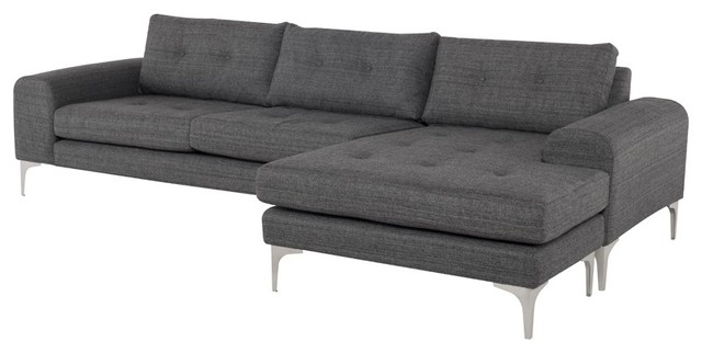 112 5 L Alissa Sectional Raf Brushed Stainless Steel Legs On Tufted Tweed