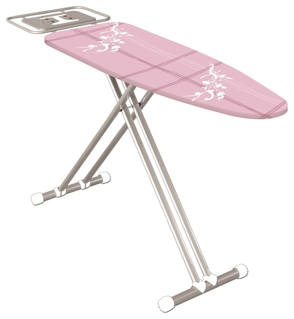 Econat Extra Wide Adjustable Height Ironing Board, Pink