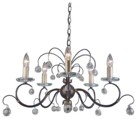 Traditional Bronze 5-Arm Chandelier, Cut Crystal Glass