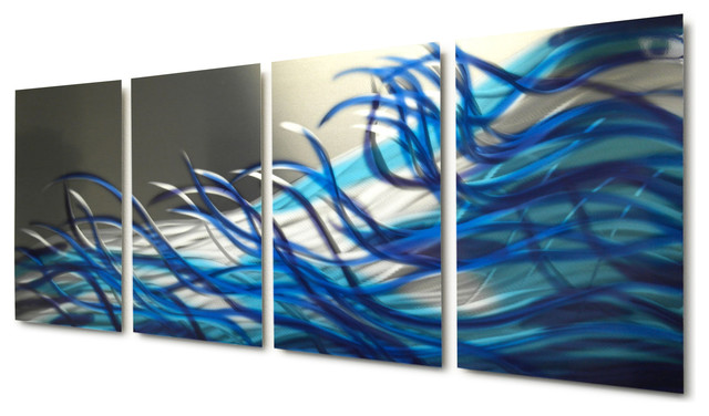 Metal Wall Art Decor Abstract Contemporary Modern Sculpture- Blue Resonance. -1