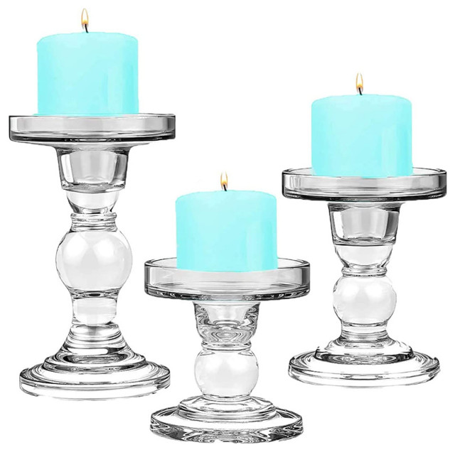 3 Piece Set Of Bubble Glass Pillar Candle Holders Contemporary Candleholders By Cys Excel Inc