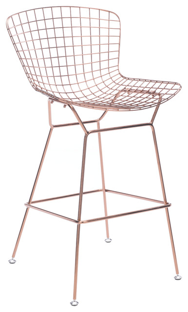 Wire Chairs Set Of 2 Bar Rose Gold Contemporary Stools