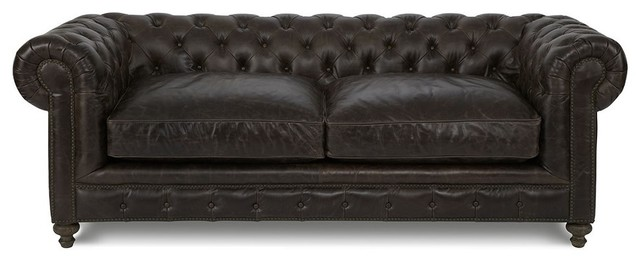 Brown Leather Sofa Nailhead Trim Traditional Sofas