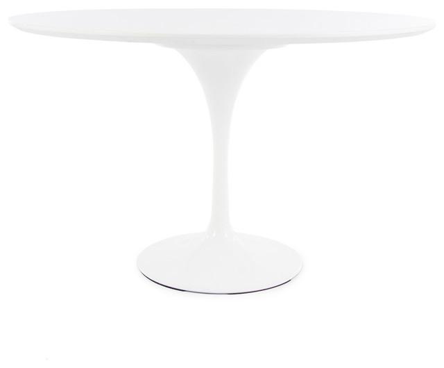 Round Top Iconic Tulip Table White Laminated Finish 47