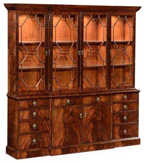 Jonathan Charles Buckingham Medium Antique Mahogany China Cabinet  Traditional China Cabinets And